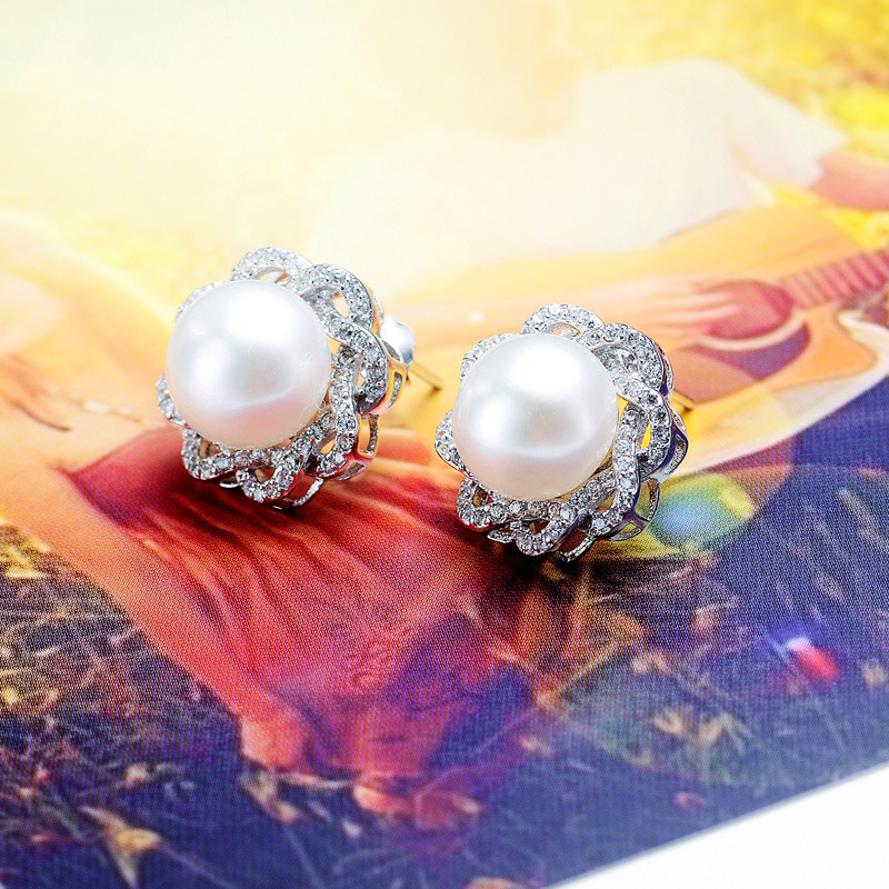 Gorgeous Flower Micro-inlaid Rhinestone Earrings Mounts 925 Sterling Silver Pearl Ear Jewelry DIY Wholesale 10pcs