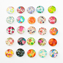 10pcs Mixed 12mm Round Flower Pattern Glass Patch Cover Cabochons Cameo Jewelry Findings