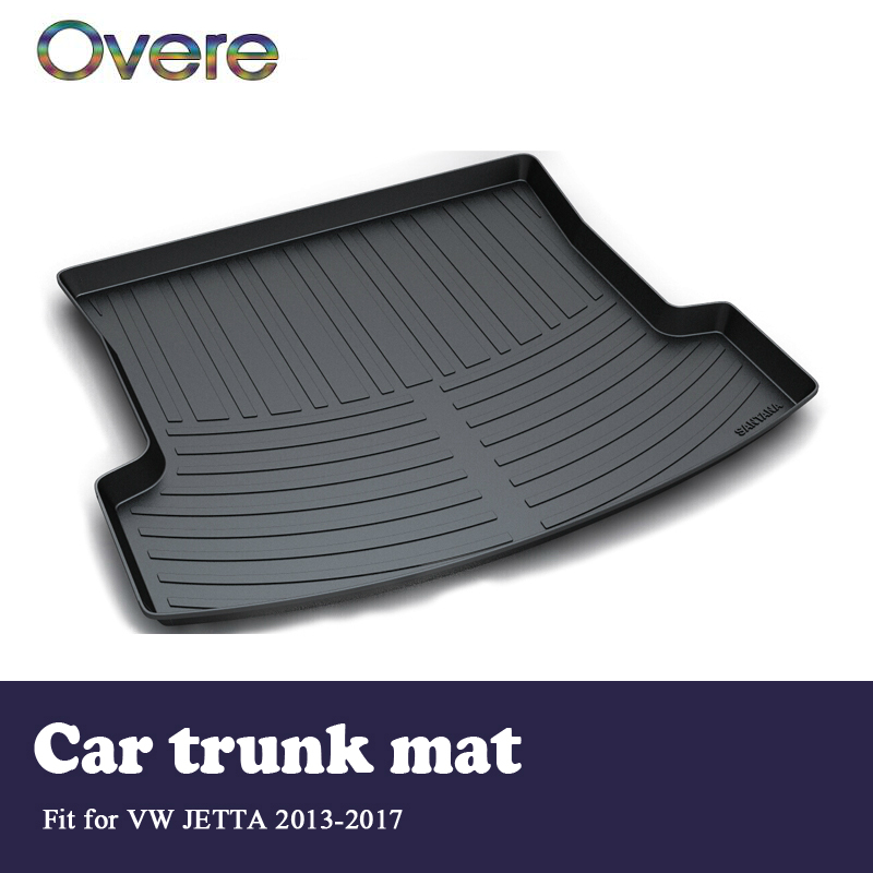 Overe 1Set Car Cargo rear trunk mat For VW Jetta Mk6/A6 2013 2014 2015 2016 2017 Liner Tray Waterproof Anti-slip mat Accessories dedicated to the for volkswagen new jetta santana jetta all trunk mat tiguan mogotan ling of car trunk mattrunk boot cargo mat