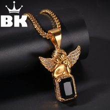 THE BLING KING Custom Angel Gem Necklace Hip Hop Full Iced Out Cubic Zirconia gold sliver CZ Stone(China)