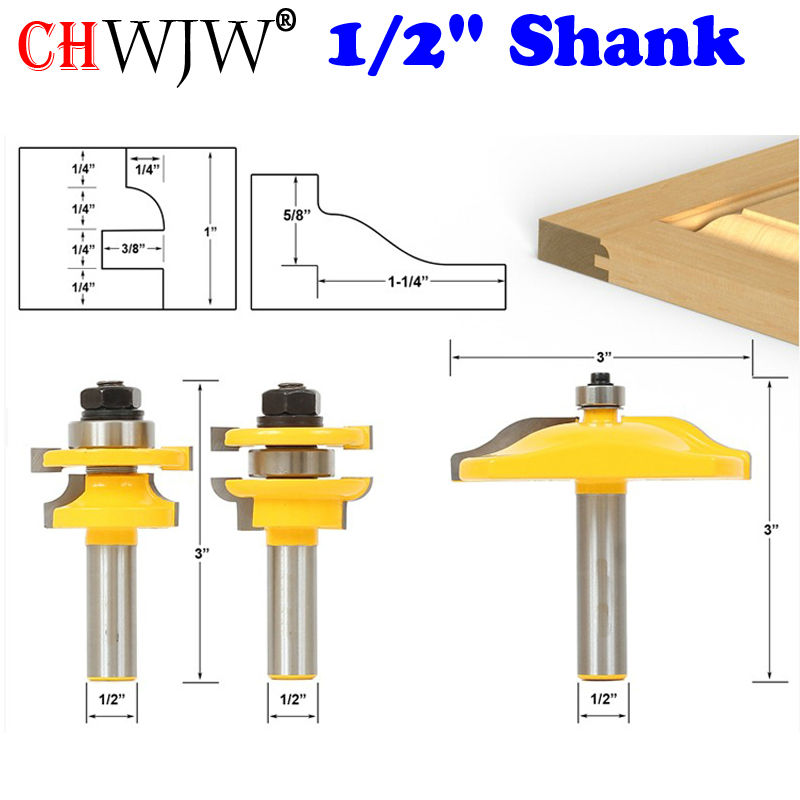 Raised Panel Router Bit Door Set -Round Over with Ogee Panel Raiser Chwjw 12336 usb3 0 round type panel mounting usb connecter silver surface