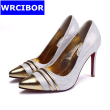 2017 NEW patent leather womens shoes thin heels fashion woman pumps sexy red bottom high heels gold sandals women shoes