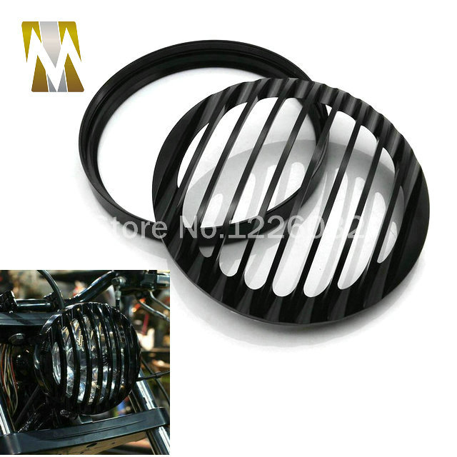 Black 5 3/4 Aluminum motorcycle Headlight Grill Cover for Harley Sportster XL 883 1200 2004-2014 super quality 5 3 4 aluminum cnc light cover headlight grill cover for harley sportster xl883 1200 04 up softail