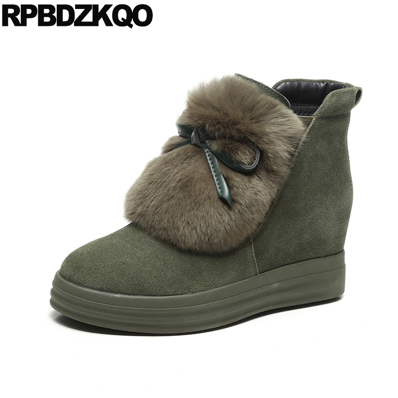 Shoes Bow Women Ankle Boots 2016 Round Toe Fur Booties Suede Green Furry Fashion Winter Slip On Chinese 2017 Female New Ladies women ankle boots medium heel genuine leather booties vintage thick suede round toe chunky shoes slip on platform brown fall