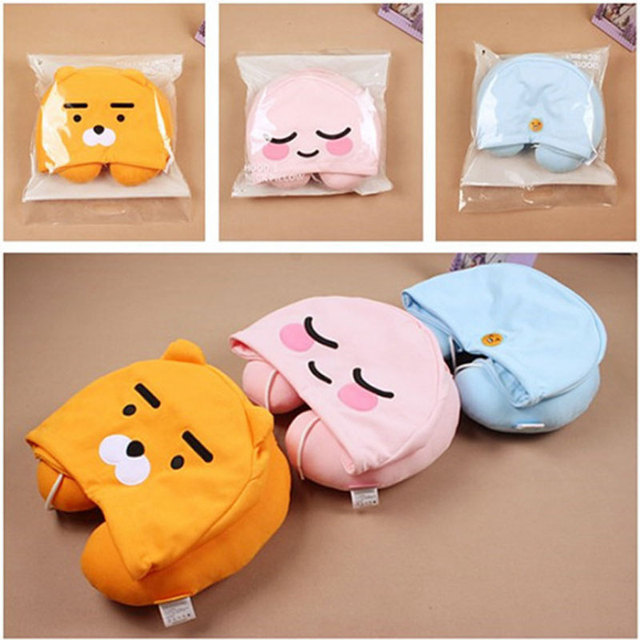 YunNasi Plush Apeach U Type Pillow Hat korean Ryan Cocoa friends Neck Pillow Hoodie Sleeping Stuffed Animal Toys For Girls Gifts
