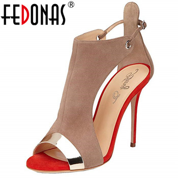 FEDONAS New Arrival Fashion Sexy Peep Toe Thin High Heels Women Sandals Summer Mixed Colors Buckle Party Prom Basic Shoes Woman