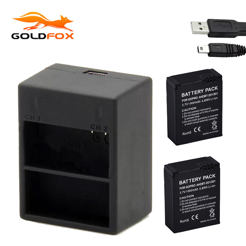 2Pcs 1300mAh Battery + Dual USB Charger for Gopro Hero 3 AHDBT-301 / 201 Rechargeable Li-ion Action camera Battery
