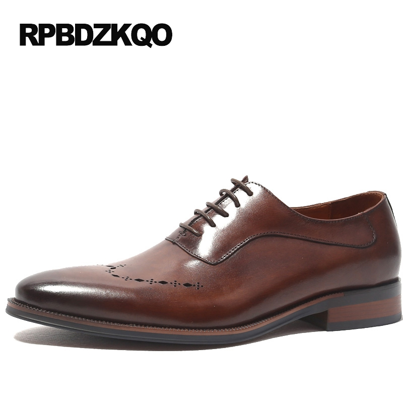 Real Leather Handmade Shoes Brown Italy Men Dress Wedding Oxfords Cow Skin Flats Spring Brogue Business European Fashion Autumn eu38 44 black brown color fashion style men s shoes genuine leather handmade round toe dress wedding brogue oxfored shoes