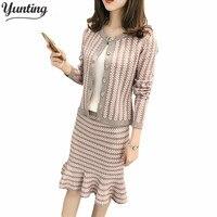 High Quality Winter Runway Women Warm Knitting Skirt Suits Vintage sweater tops Skirt Set