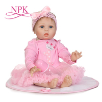 NPK Stylish 22 Inches Real Lifelike Reborn Babies Cloth Body Newborn Princess Girl Dolls Children Birthday Xmas Gift