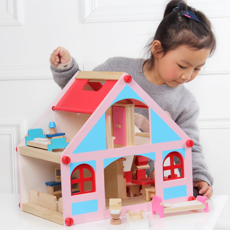 Children wooden doll house toy baby doll furniture villa with all rooms 3kg solid wood toy kids birthday gift extra free gift children toy baby birthday gift toy 8 different hero spiderman modeling hand model doll toy