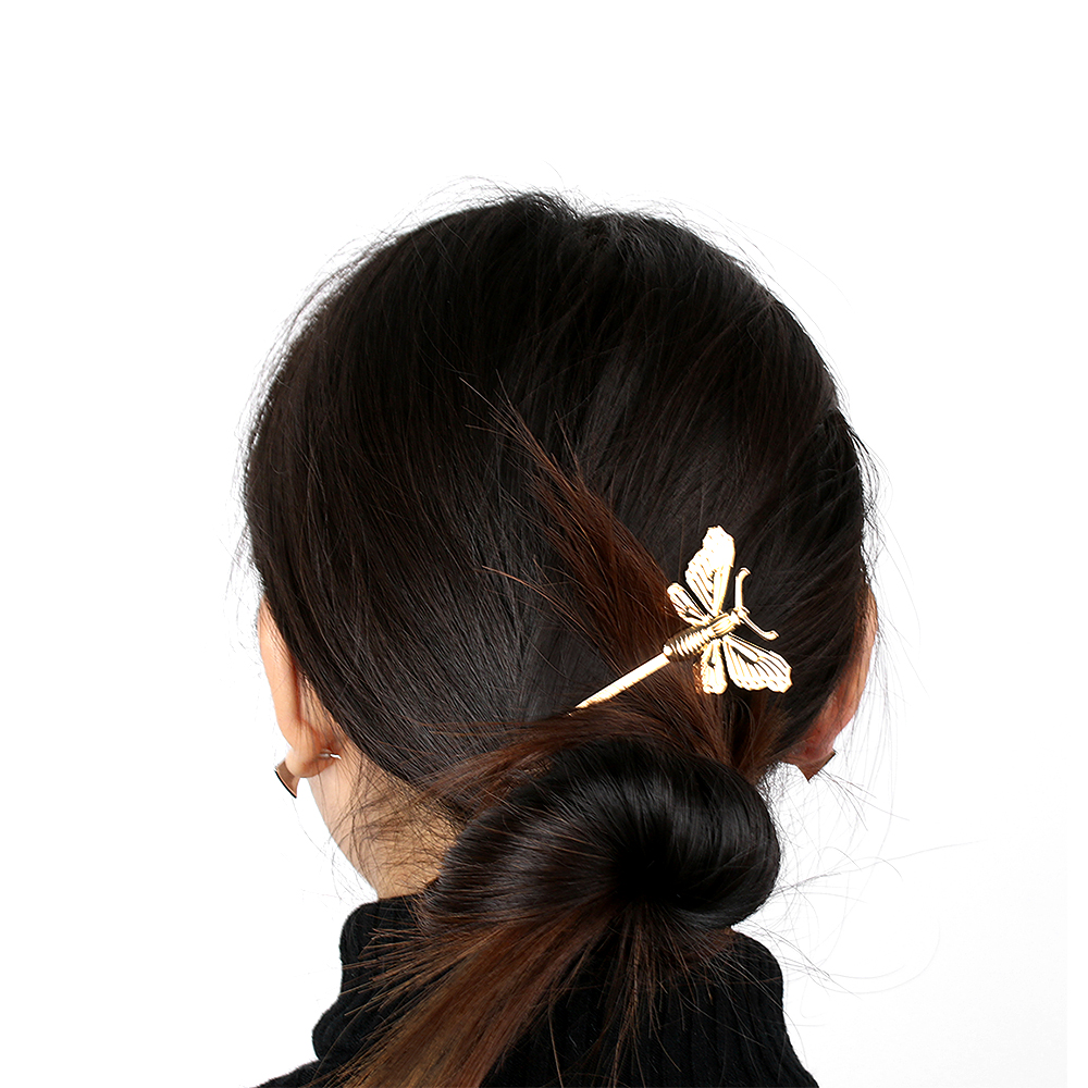 Butterfly hair accessories for weddings uk - 1pc 2017 Women Girl Butterfly Leaf Hairpin Golden Wedding Uk Clip Boho Hair Clip Barrettes Hair