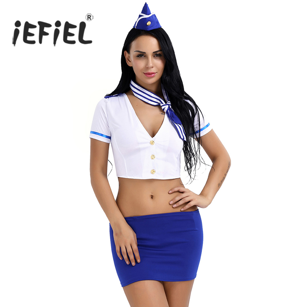 iEFiEL Women Lingerie Stewardess Air Hostess Uniform Deep V-neck Crop Top with Slim-cut Skirt Cap Tie Cosplay Role Play Costume