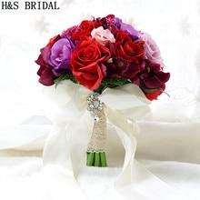 H&S BRIDAL Bouquet De Mariage Red Artificial Bridal Bouquet Vintage Wedding Bouquets For Brides Bridesmaid Flower Brooch Bouquet