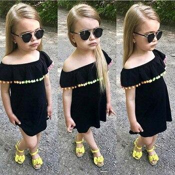 2019 ยุโรปและอเมริกาหญิงสีดำฤดูร้อนใหม่สีลูกบอลชุดเด็ก - word ชุดเสื้อผ้า