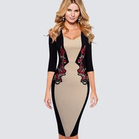 Rerto Vintage Floral Embroidery Appliques Formal Party Dress Women Elegant Colorblock Contrast Sheath Bodycon Pencil Dress HB359