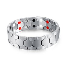 Mens  Health Energy Magnetic Bracelet Bangle WITH Functions Negative Ion, Germanium Powder Fashion Design  Koper Magnet Armband(China)