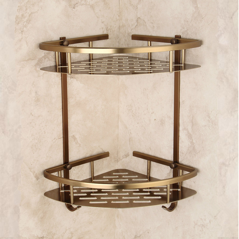 Bathroom Antique Bronze Shelf Two Layer Corner Aluminum Basket Shower Caddy Hair Dryer Holder Etagere Salle De Bain Murale Tipi