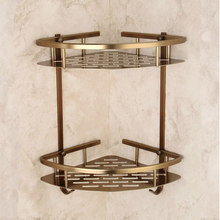 Salle de bain Antique Bronze étagère deux couches coin aluminium panier douche Caddy sèche cheveux support etagere salle de bain murale tipi