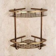Łazienka Antique Bronze półka dwuwarstwowy narożnik aluminiowy kosz koszyk prysznicowy uchwyt do suszarki do włosów etagere salle de bain murale tipi