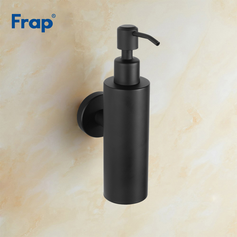 все цены на Frap Wall Mounted Liquid Soap Dispenser Pump Hand for Kitchen Black Stainless Steel Shower Lotion Soap Holder Bathroom Y18005 онлайн