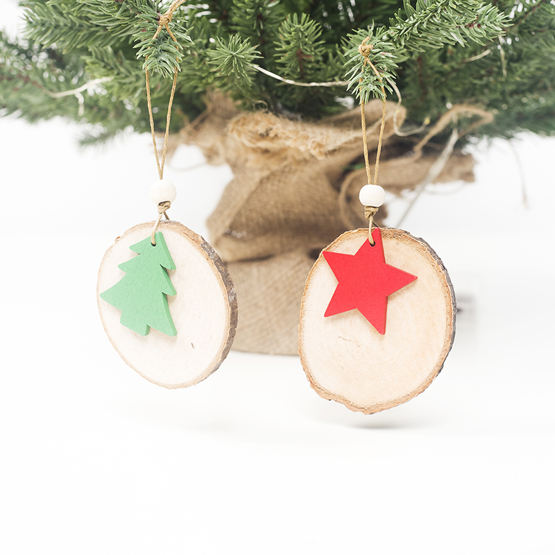 Cute Cartoon Smile Elk Wooden Ornament Christmas Tree Decoration Hanging Pendant Xmas Party Decor for Home Kids Gift Animal 2020 47