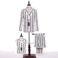 Yeni Stil Groomsmen Erkek Klasik Damat Smokin Erkek Takım Elbise Düğün Damat Siyah Şeritler Iyi Adam Blazer (Ceket + pantolon + Yelek)