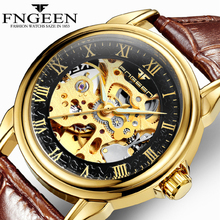 лучшая цена FNGEEN Luxury Men's Watch Top Brand Automatic Mechanical Wristwatch Gold Men Watches Hollow Dial Leather Strap Masculino Hombre
