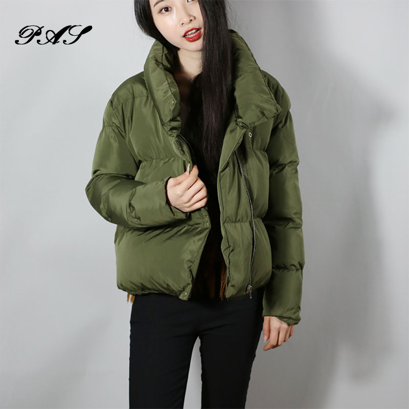 Winter Casual Women s down jacket New Fashion 2017 Solid Color Irregular Short Cotton Jacket Coat