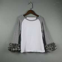 lady gray raglan t-shirts ruffle icing tees shirts for women kids wholesale lengthy sleeve shirts boutique baseball gray tees