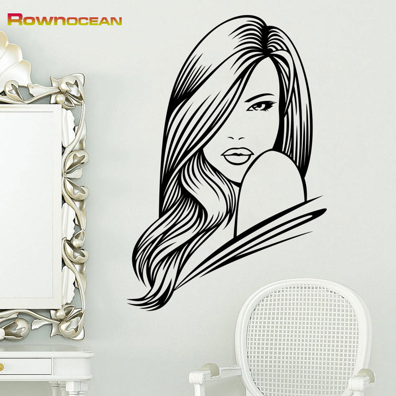 High Quality Brand Beautiful Hair Girl Art Wall Stickers Home Decor Living  Room Vinilos Decorativos Interior Bedroom Mural B 01