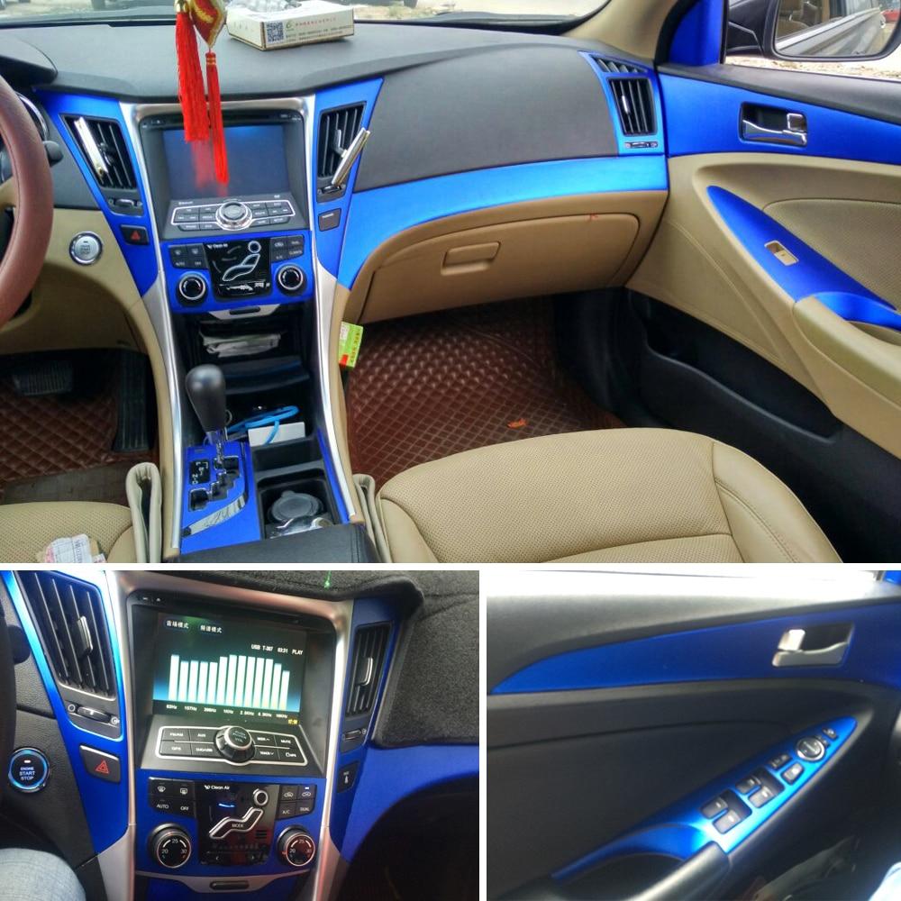 Car-Styling 3D/5D Carbon Fiber Car Interior Center Console Color Change Molding Sticker Decals For Hyundai Sonata 8 2011-2014