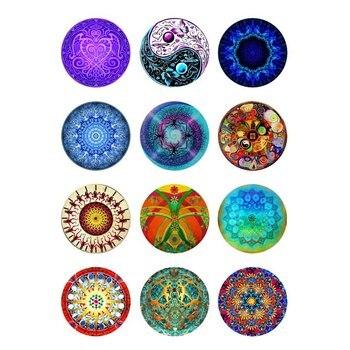10mm 12mm 14mm 16mm 20mm 25mm 166 12 unids/lote Mandala mezcla cabujones de cristal redondo hallazgos de joyería 18mm botón de presión encanto pulsera