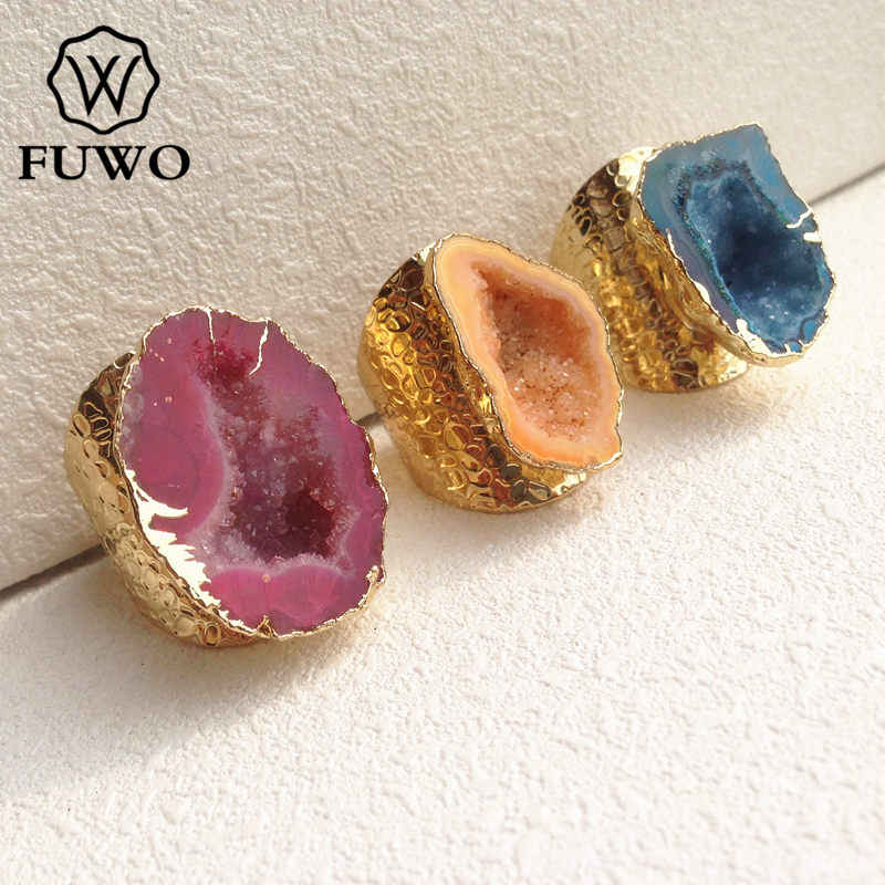 Fuwo混合色のgeodeリング24 kゴールド電着フリーフォームdrusy宝石の石葉巻リング調整可能なサイズジュエリー卸売rg001
