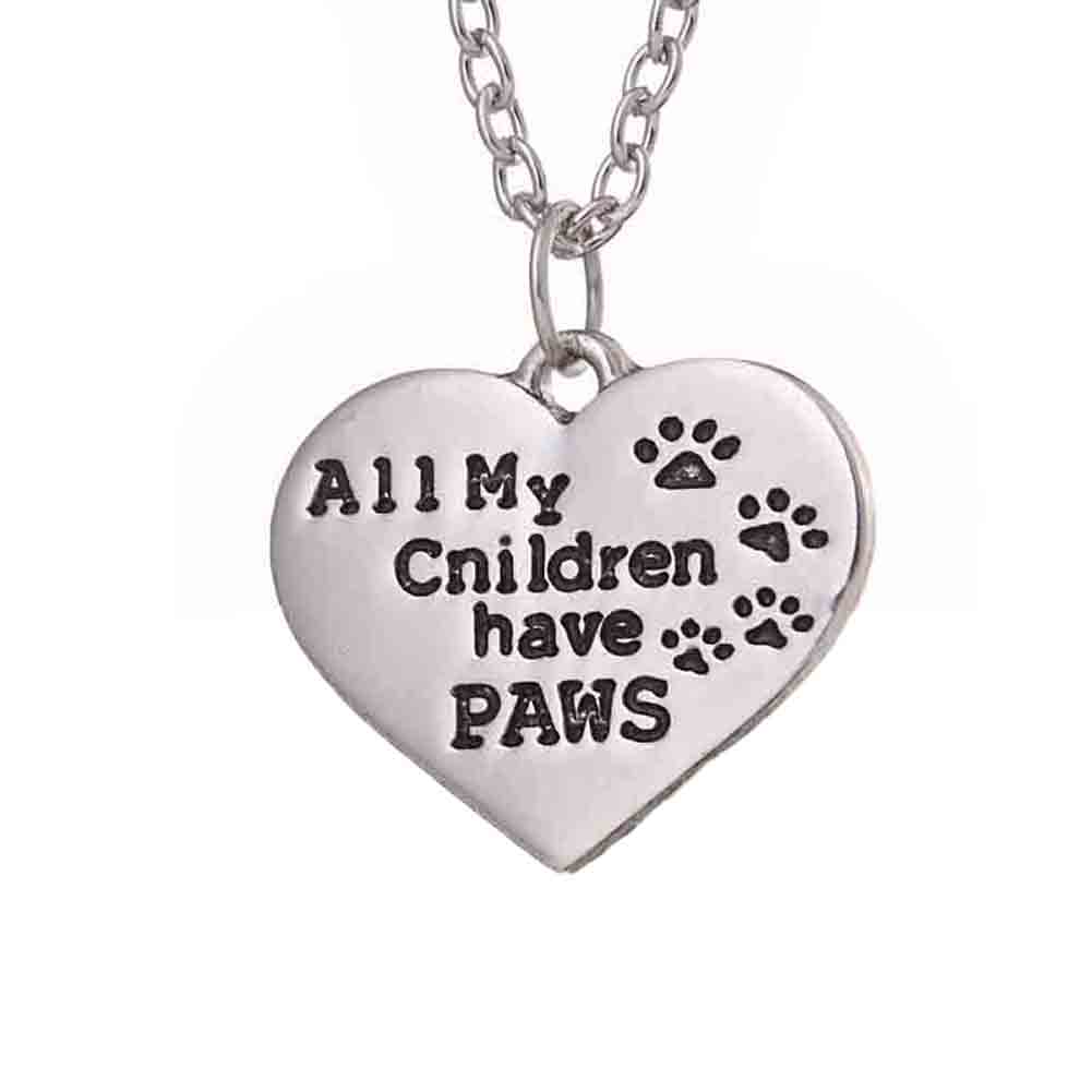 Hot Sale Animal Dog Paw Footprint Lettering All My Children Have Paws Heart-shape Pendant Necklace Wholesale
