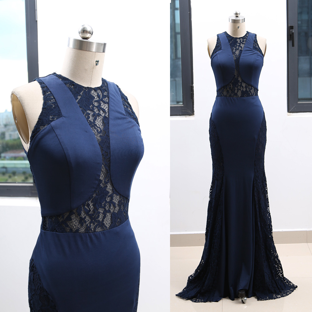 MACloth Dark Blue A-Line Scoop Neck Floor-Length Long   Prom     Dresses     Dress   M 264145 Clearance