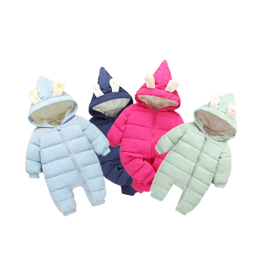 Daddy Chen Baby Rompers Winter Jackets for Girls Kids Clothing Spring Autumn Rabbit Ear Style Overalls Cute Boys Newborn Clothes spring baby boys girls clothing winter baby hooded rompers cotton padded kids warm overalls climb clothes for newborn babies