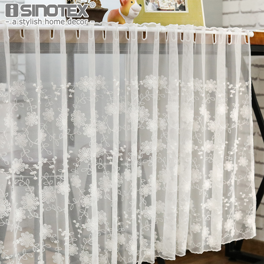 Us 16 99 Floral Cafe Curtain Half Curtain Window Treatment Pastoral Embroidered Panel Voile Valance Decoration Bedroom Living Room 1 Pcs In Curtains