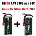 GTFDR POWER  2 шт.  Радиоуправляемый литий-ионный аккумулятор 2S 7 4 В 3300 мАч 20C Max40C foryuefei 03 Wltoys 12428 12423 1:12  запасные части для автомобилей  радиоуправля...