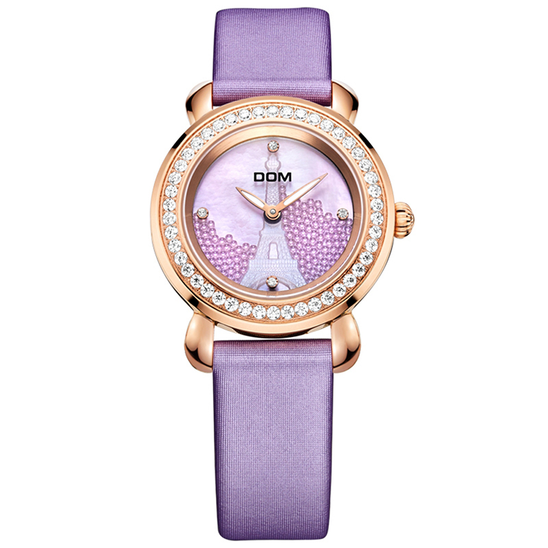 цена на DOM Women Watches Fashion Paris Eiffel Belt Watch Elegant Leather Quartz Wrist Watch Montre Femme 2018 Rhinestone Ladies Watch