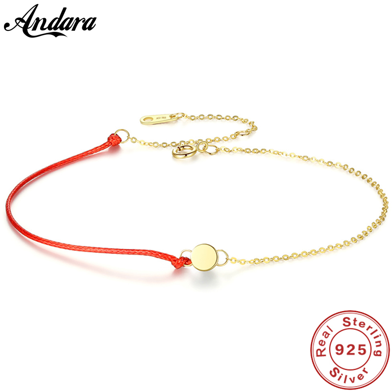 Real 14K Yellow Gold Bracelet Fashion Round Red Rope Women Chain Bracelets Gold JewelryReal 14K Yellow Gold Bracelet Fashion Round Red Rope Women Chain Bracelets Gold Jewelry
