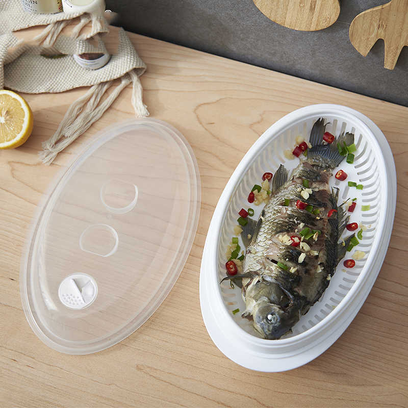 Multi Healthy White Portable Microwave Steamer With Lid Plastic Cooking Tools Food Cookware fish Storage Boxes 32.7*16.8*9.5cm