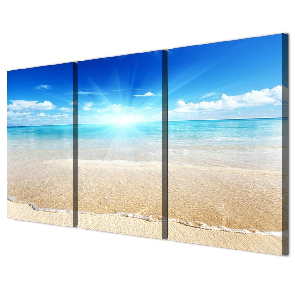 3 panel enmarcado HD impreso Sunshine cielo azul playa pared arte ...