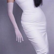Women Gloves White Silk Elastic Lace Ultra-Thin Long Style Womans Black Retro Mesh Evening Vestido TB67