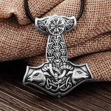 1 unids Nórdicos Vikingos Martillo de Thor Colgante, Collar Amuleto COLGANTE de Collar de Cabra Animal Original Nudo Joyería Vikingo