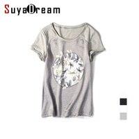 Women Silk T Shirt Short Sleeve Black O Neck Silk And Cotton Patchwork Shirt Blusas Femininas