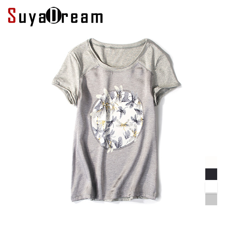 Women silk t shirt short sleeve black o neck silk and for Cotton silk tee shirts