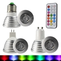 16 Colors Changing RGB LED Spotlight Bulb Light E27 GU10 MR16 3W 85-265V RGB Led Lamp With Remote Controller For Home Decoration