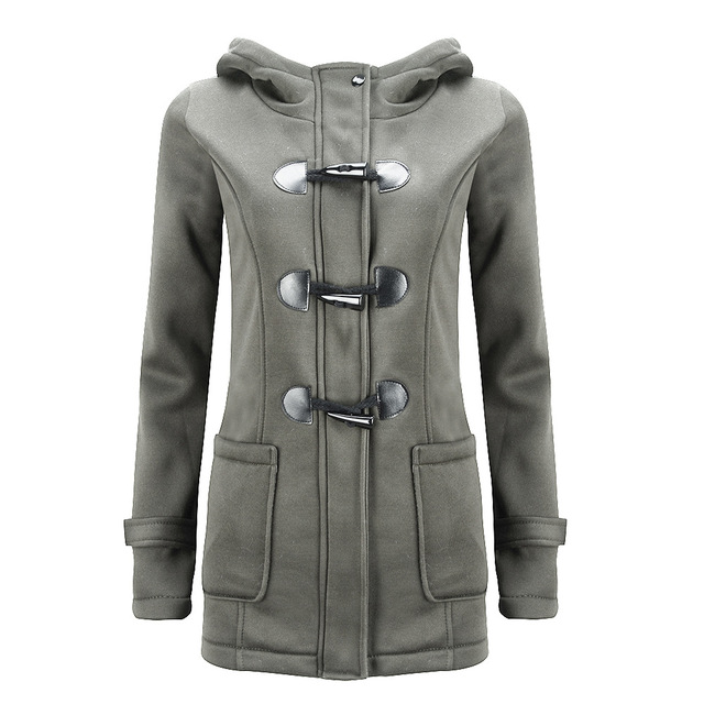 2016 Winter Coat Women Thick Slim Outerwear Long sleeve Jackets Hooded long-sleeved classic horn leather buckle coat jacket coat