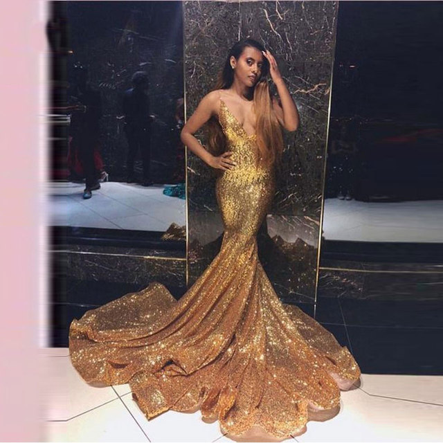 2019 New arrival Evening Dresse Formal vestido noiva sereia prom party robe de soiree sequin gown cheap gold sexy gown dress